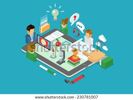 Flat 3d isometric science, scientific research, education, teaching, coaching, e-learning, class infographic concept vector. People around tablet with microscope, flask, books, report, cup and apple. - stock vector