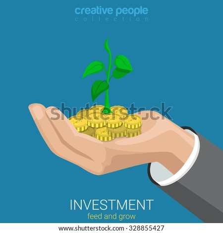 Flat 3d isometric style investment grow business concept web infographics vector illustration. Coin and plant sprout growing on hand palm. Creative people website conceptual collection. - stock vector