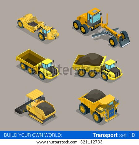 Flat 3d isometric style modern road highway surface making construction site wheeled track vehicles transport web app icon set concept. Tipper tip truck asphalt paver paving machine combine harvester. - stock vector