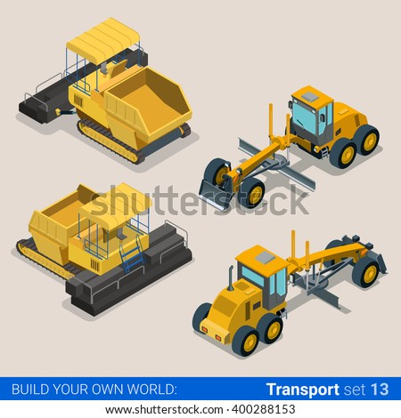 Flat 3d isometric style modern road highway surface making construction site wheeled track vehicles transport web app icon set concept. Asphalt paver paving machine combine harvester. - stock vector