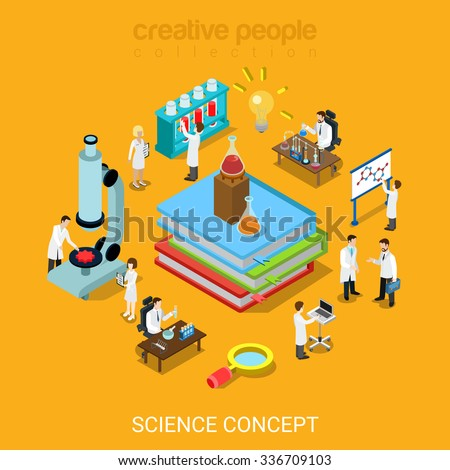Flat 3d isometric style science lab concept icon set web site infographics vector illustration. Books flask tube magnifier microscope micro scientists. Creative people website conceptual collection. - stock vector