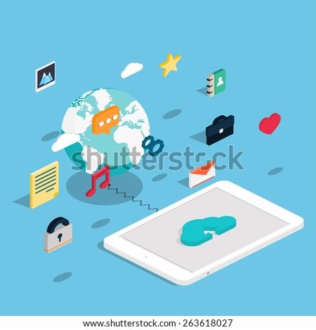 Flat 3d isometric touchpad pc (tablet) with clouds and user interface development concept. Application and software, screen and phone. - stock vector