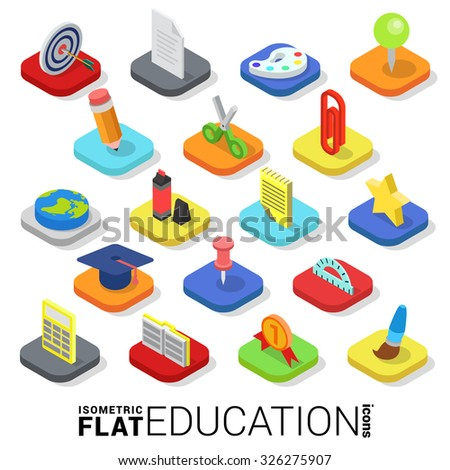 Flat 3d isometric trendy style education web mobile app infographics icon set. Website application collection. - stock vector