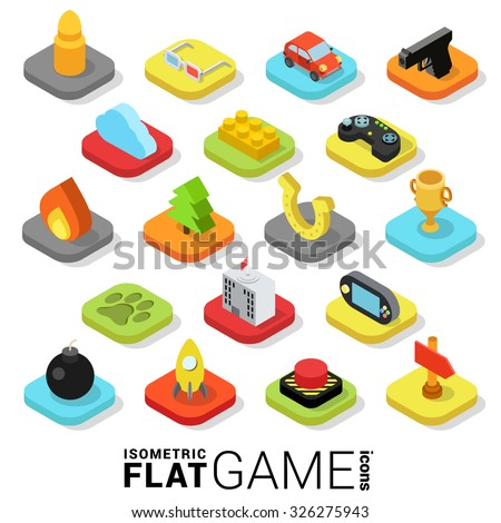 Flat 3d isometric trendy style game gaming gamification web mobile app infographics icon set. Website application collection. - stock vector