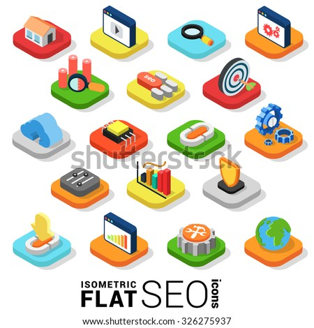 Flat 3d isometric trendy style SEO search engine optimization marketing web mobile app infographics icon set. Website application collection. - stock vector