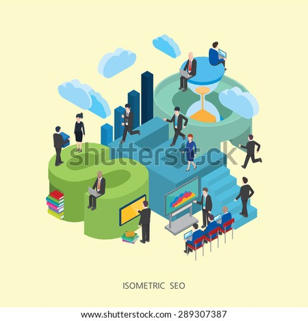 Flat 3d isometric vector illustration SEO concept design, Abstract urban modern style, high quality business series. - stock vector