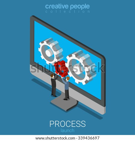 Flat 3d isometry isometric app application software process launch concept web infographics vector illustration. Micro people placing red cogwheel on laptop screen. Creative people collection. - stock vector
