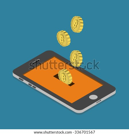 Flat 3d isometry isometric bitcoin online currency payment mining wallet concept web infographics vector illustration. Bit coin slide hole smart phone screen money box savings. Bitcoins collection. - stock vector