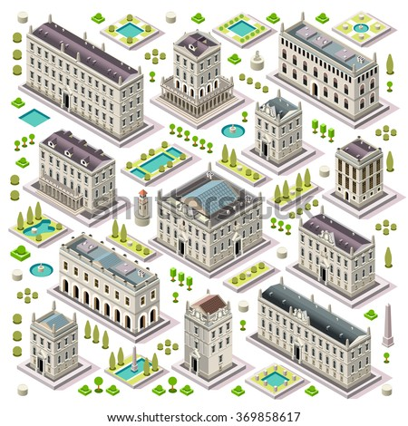 Flat 3d set of the isometric town buildings city map elements theatre palace hall university hotel for game development collection. Assemble Your Own 3D World - stock vector