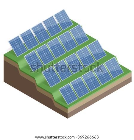 Flat 3d Vector isometric illustration. Blue solar panels. Eco energy. - stock vector