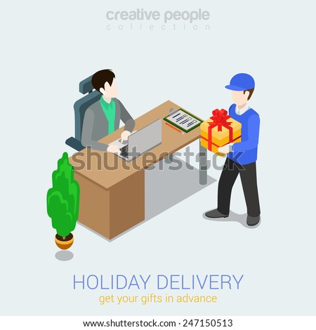 Flat 3d web isometric courier holiday gift delivery infographic concept vector. Man giving present box to woman. Creative people collection. - stock vector