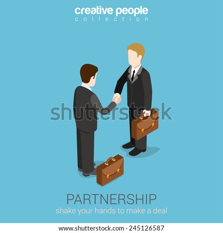 Flat 3d web isometric partnership deal handshake to succeed infographic concept vector. Two businessmen shaking hands. Creative people collection. - stock vector