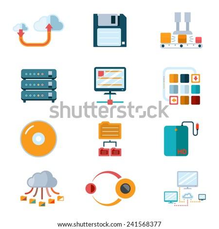 Flat data icons. Colorful symbols, database processing, broadcast information. Vector illustration - stock vector