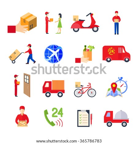 Flat delivery colorful icon set with transport order personal service vector illustration - stock vector