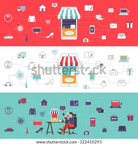 Flat desdign concept e-commerce and online shoping. Vector illustrate. - stock vector
