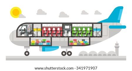 Flat design airplane interior illustration vector - stock vector
