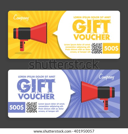 Flat Design. Announcement Of The Award. Vector illustration Gift voucher template with colorful retro pattern and megaphone, cute certificate coupon design template - stock vector