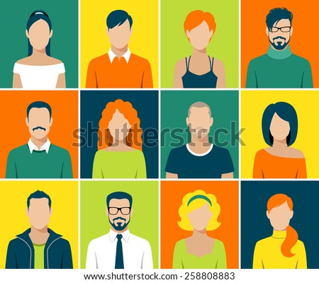 flat design avatar app icons set user face people man woman vector - stock vector