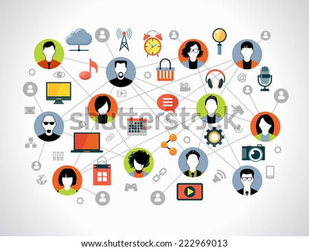 Flat design background the Communications in a global computer network. Ã?Â??vatars set on world map background surrounded interface icons. Social media concept.  - stock vector