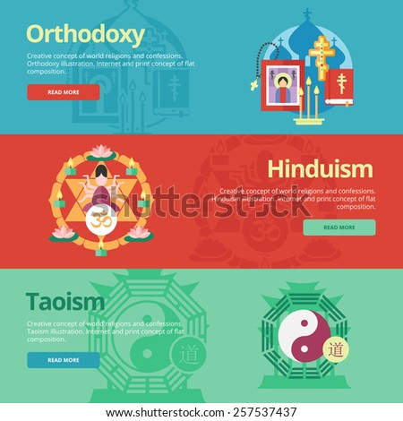 "Flat design banner concepts for orthodoxy, hinduism, taoism. Religion concepts for web banners and print materials. The 'Om' text in Hindu. Chinese Character for ""Tao"" - stock vector"