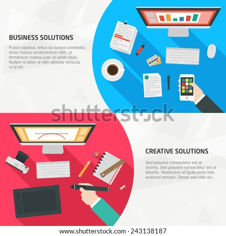 Flat Design Banners for business, creativity, management, and teamwork. Concepts for infographics, web and presentations - stock vector