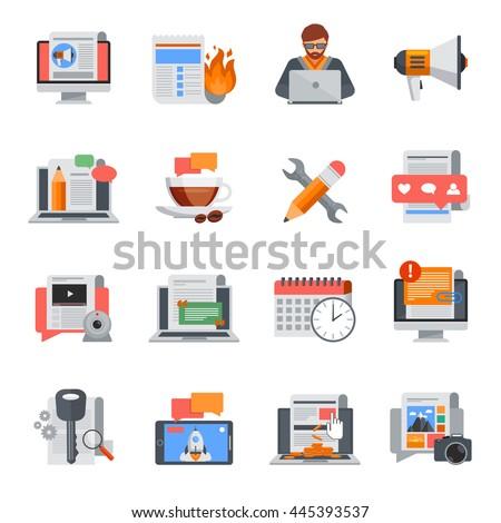 Flat design blogging icons set for blog management on white background isolated vector illustration - stock vector