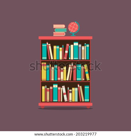 Flat Design Book Cabinet Vector Illustration  - stock vector