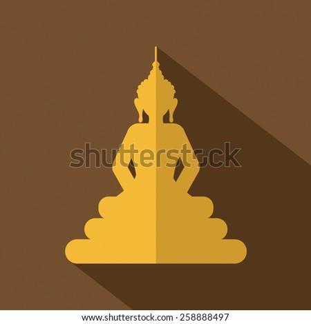 Flat Design Buddha Icon Vector Illustration  - stock vector
