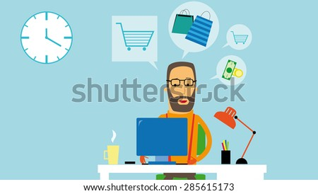 Flat design businessman buying on the internet. Mail order. Online shopping - stock vector