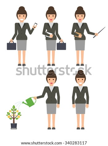 Flat design businesswoman dressed in suit isolated on white background. Business woman standing with briefcase watering money tree holding phone and pointing something - stock vector