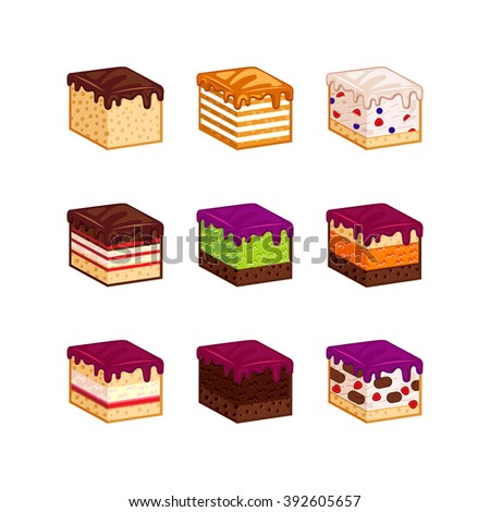 Flat design cake piese icons. Cartoon cake flavour vector illustration. Cake slice isolated set. Birthday cake order infogaphics.  Pieces of cake. Chocolate, berries, tiramisu, meringue, honey cake - stock vector