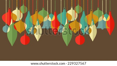 Flat Design Card with Christmas toys. Vector file organized in layers for easy editing.  - stock vector