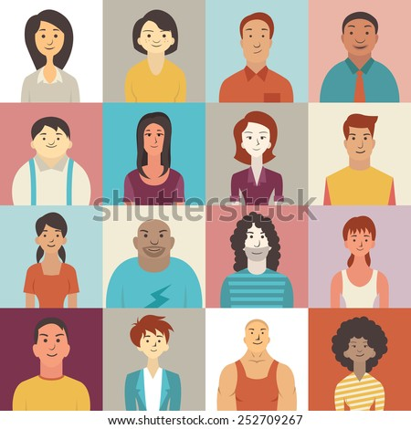 Flat design character of diverse people smiling. - stock vector