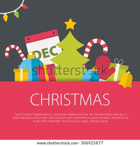 Flat design christmas concept. A set of flat design elements. - stock vector