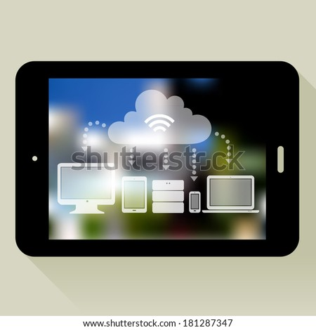 Flat design cloud concept illustration with tablet pc and blurred background, 10 EPS - stock vector