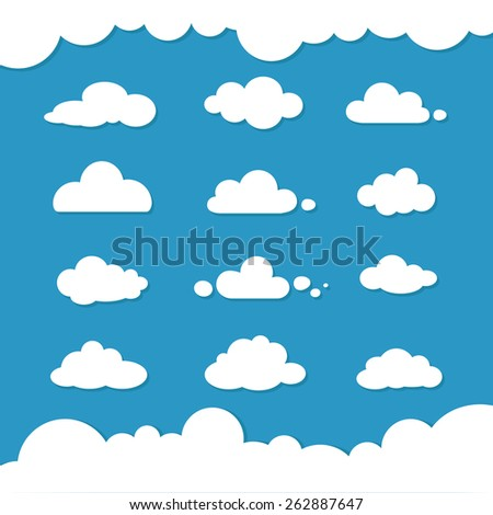Flat design clouds capes collection set. Flat shadows. Clouds, flat design collection Vector illustration - stock vector