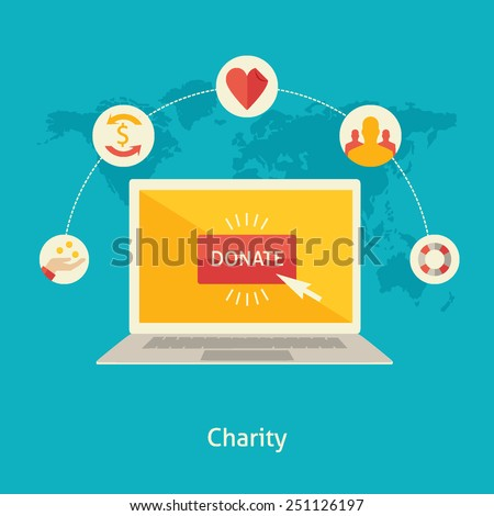 Flat design colorful vector illustration concept for charity online service, internet funding, donating money by online payments isolated on bright background  - stock vector