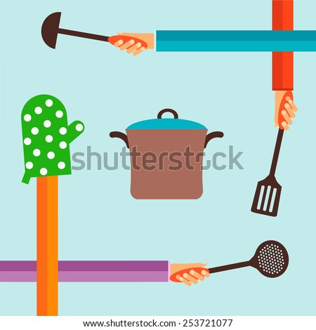 Flat design colorful vector illustration concept for cooking food isolated on bright background - stock vector