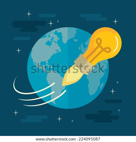 Flat design colorful vector illustration concept for creativity, big idea, creative work, starting new project isolated on stylish background - stock vector