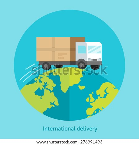 Flat design colorful vector illustration concept for delivery service, receiving package from courier to customer isolated on bright background - stock vector
