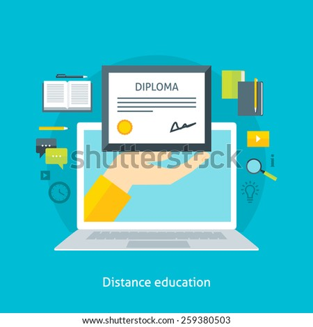 Flat design colorful vector illustration concept for distance education, online learning, certificate programs. Isolated on bright background - stock vector
