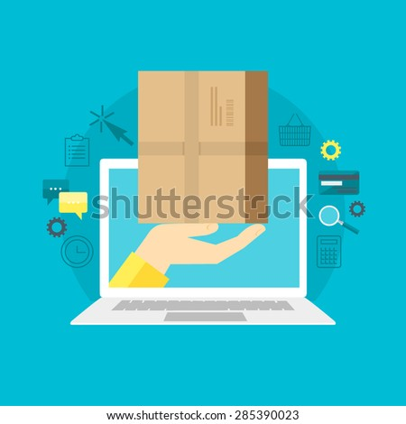 Flat design colorful vector illustration concept for fast delivery service, e-commerce, e-shopping, ordering goods in online store isolated on bright background  - stock vector