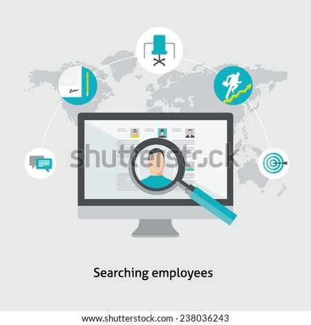 Flat design colorful vector illustration concept for human resource management, searching employees, selecting professional staff, analyzing personnel resume isolated on light background  - stock vector