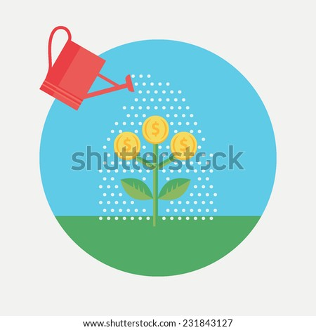 Flat design colorful vector illustration concept for investment, getting profit, earning money isolated on light background  - stock vector