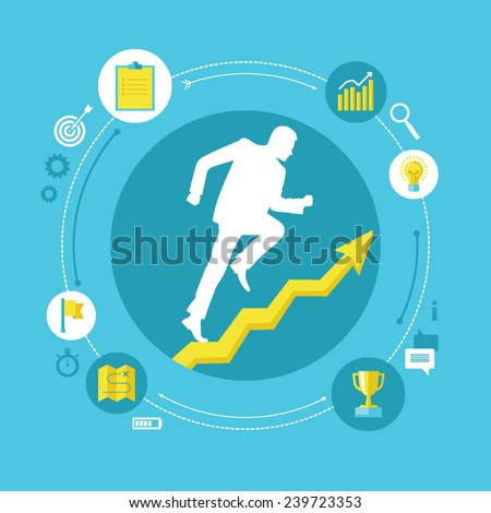 Flat design colorful vector illustration concept for personal development, professional growth, successful career, reaching goals isolated on bright background  - stock vector