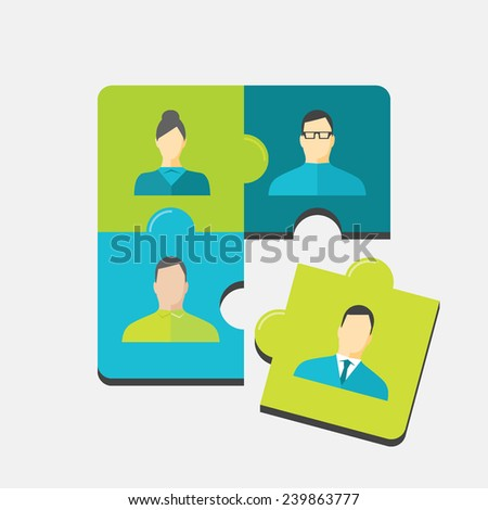 Flat design colorful vector illustration concept for recruitment, human resource management, team building isolated on light background - stock vector