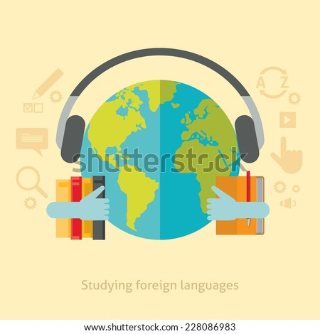 Flat design colorful vector illustration concept for studying foreign languages isolated on stylish background  - stock vector