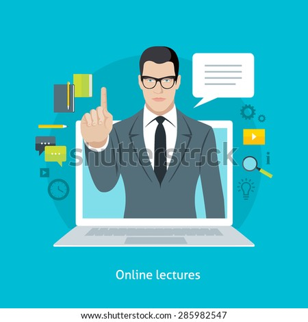 Flat design colorful vector illustration concept for webinars, online lectures, professional tutorials in internet. Isolated on bright background - stock vector