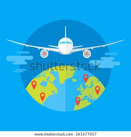 Flat design colorful vector illustration of flying plane above the earth, concept for travelling by plane, international flights. Isolated on bright background - stock vector