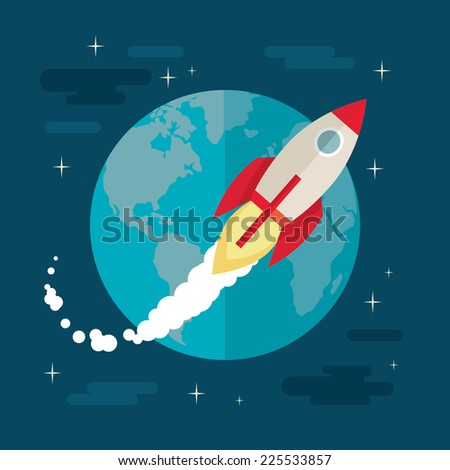 Flat design colorful vector illustration of flying rocket in space, concept for business startup, product launching on market isolated on stylish background  - stock vector